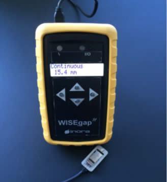 Representante da WiseGap medição de gap, rápida, precisa e sem fio